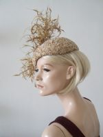 Gold White Silk Beaded and Feathered Beret Headpiece Cocktail Ascot Hat
